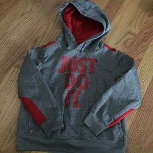 Little boys hooded sweatshirt, Sz 4t, grey and red